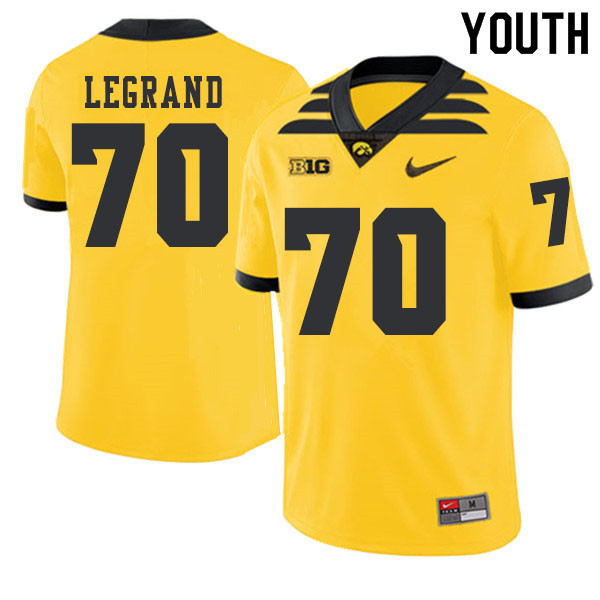 2019 Youth #70 Lucas LeGrand Iowa Hawkeyes College Football Alternate Jerseys Sale-Gold