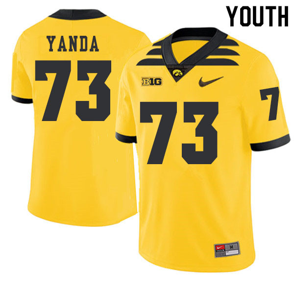 2019 Youth #73 Marshal Yanda Iowa Hawkeyes College Football Alternate Jerseys Sale-Gold