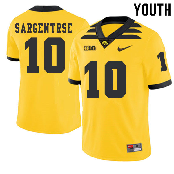 2019 Youth #10 Mekhi Sargentrse Iowa Hawkeyes College Football Alternate Jerseys Sale-Gold