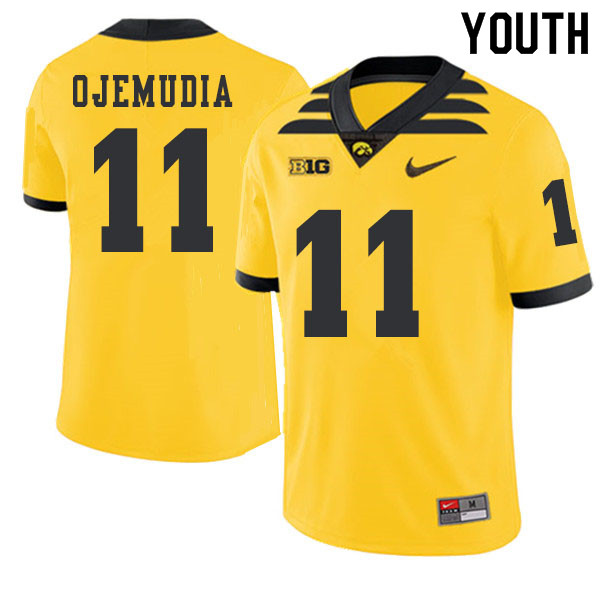 2019 Youth #11 Michael Ojemudia Iowa Hawkeyes College Football Alternate Jerseys Sale-Gold