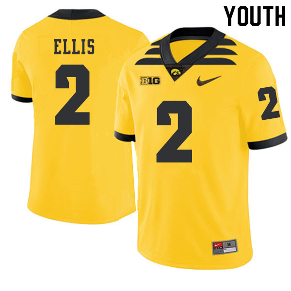 2019 Youth #2 Mick Ellis Iowa Hawkeyes College Football Alternate Jerseys Sale-Gold