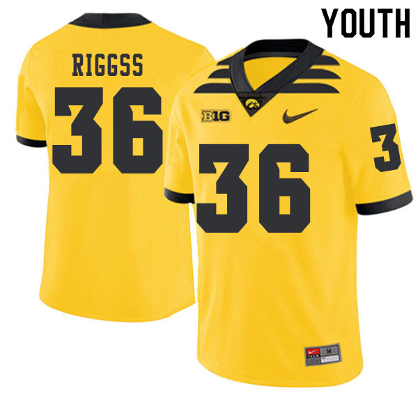 2019 Youth #36 Mitch Riggss Iowa Hawkeyes College Football Alternate Jerseys Sale-Gold