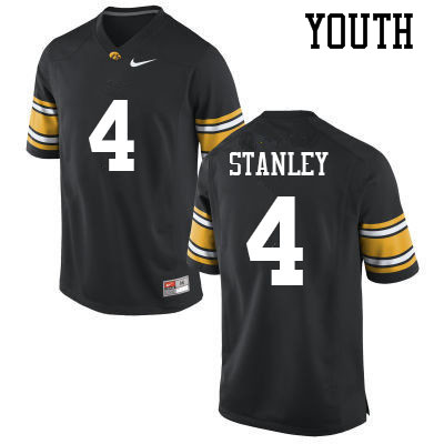 Youth #4 Nate Stanley Iowa Hawkeyes College Football Jerseys Sale-Black