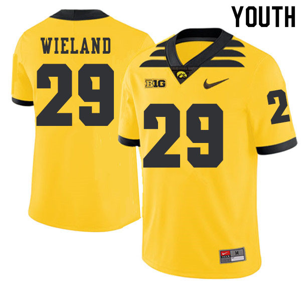 2019 Youth #29 Nate Wieland Iowa Hawkeyes College Football Alternate Jerseys Sale-Gold