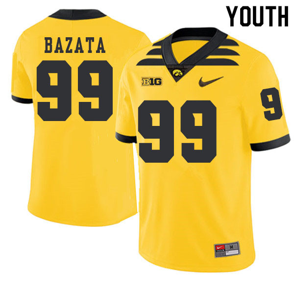 2019 Youth #99 Nathan Bazata Iowa Hawkeyes College Football Alternate Jerseys Sale-Gold