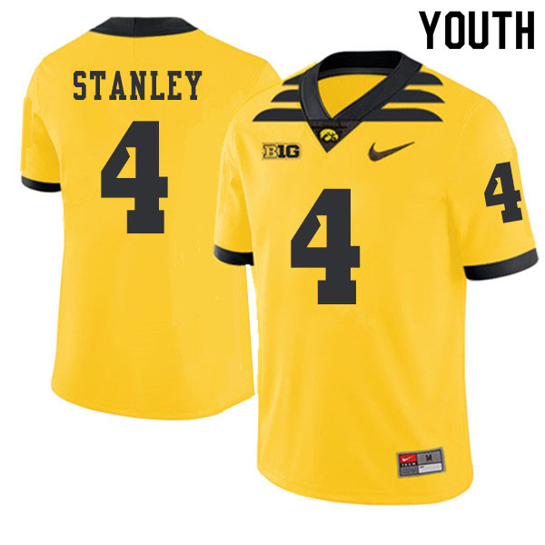 2019 Youth #4 Nathan Stanley Iowa Hawkeyes College Football Alternate Jerseys Sale-Gold