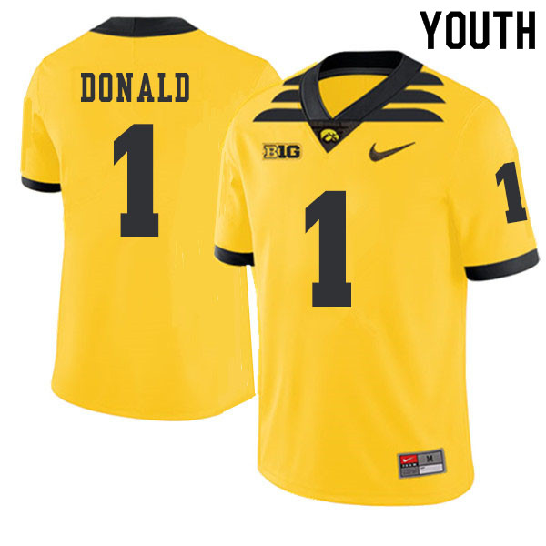 2019 Youth #1 Nolan Donald Iowa Hawkeyes College Football Alternate Jerseys Sale-Gold