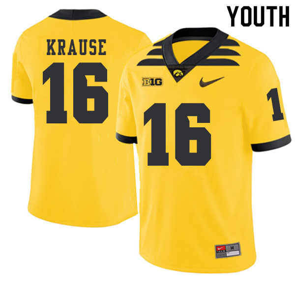 2019 Youth #16 Paul Krause Iowa Hawkeyes College Football Alternate Jerseys Sale-Gold