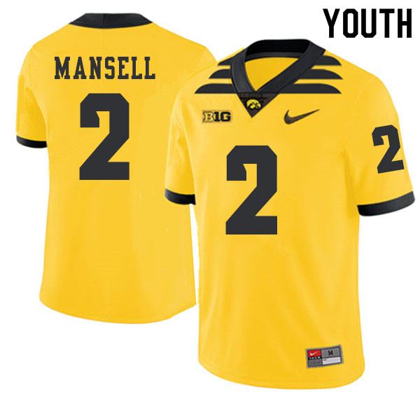2019 Youth #2 Peyton Mansell Iowa Hawkeyes College Football Alternate Jerseys Sale-Gold