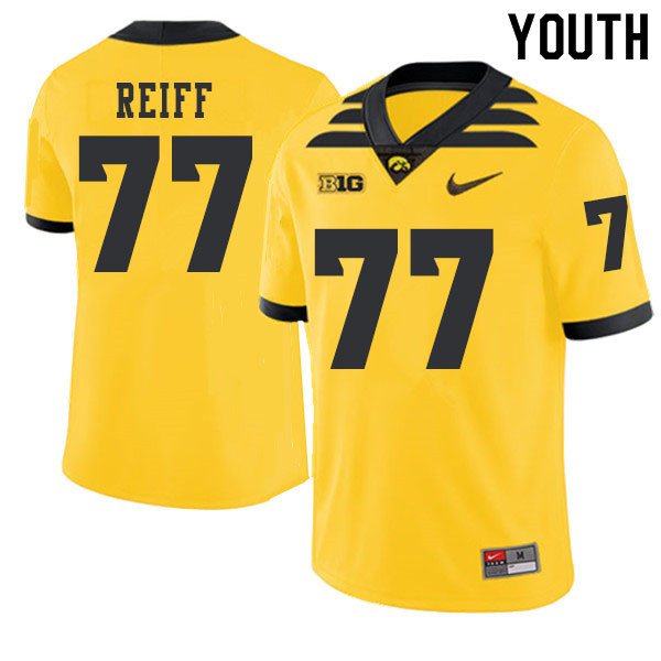 2019 Youth #77 Riley Reiff Iowa Hawkeyes College Football Alternate Jerseys Sale-Gold