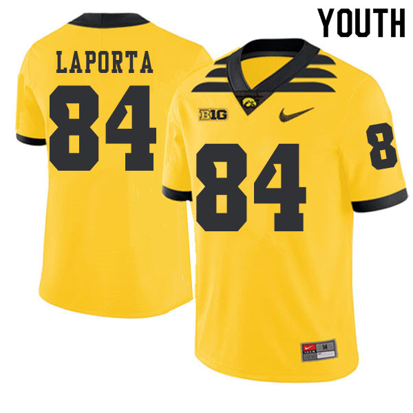 2019 Youth #84 Sam LaPorta Iowa Hawkeyes College Football Alternate Jerseys Sale-Gold