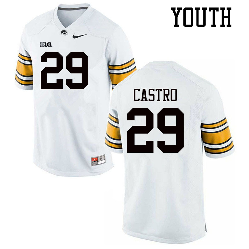Youth #29 Sebastian Castro Iowa Hawkeyes College Football Jerseys Sale-White