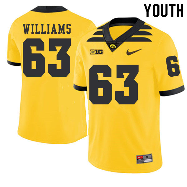 2019 Youth #63 Spencer Williams Iowa Hawkeyes College Football Alternate Jerseys Sale-Gold