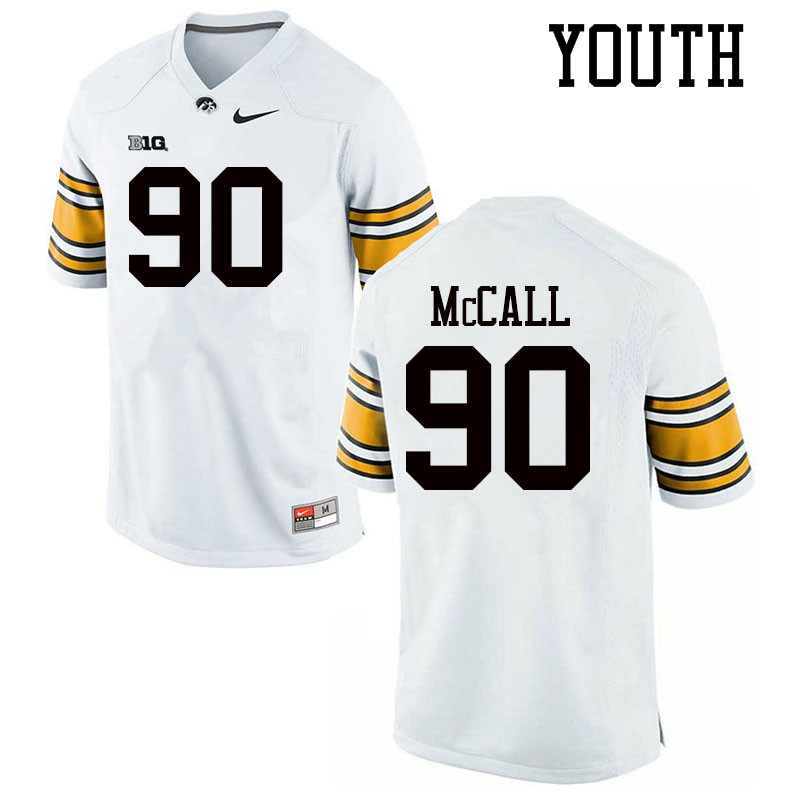 Youth #90 Taajhir McCall Iowa Hawkeyes College Football Jerseys Sale-White