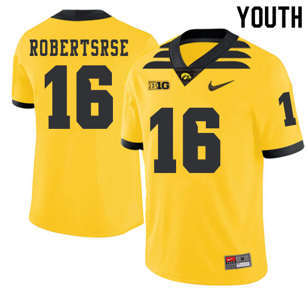 2019 Youth #16 Terry Robertsrse Iowa Hawkeyes College Football Alternate Jerseys Sale-Gold