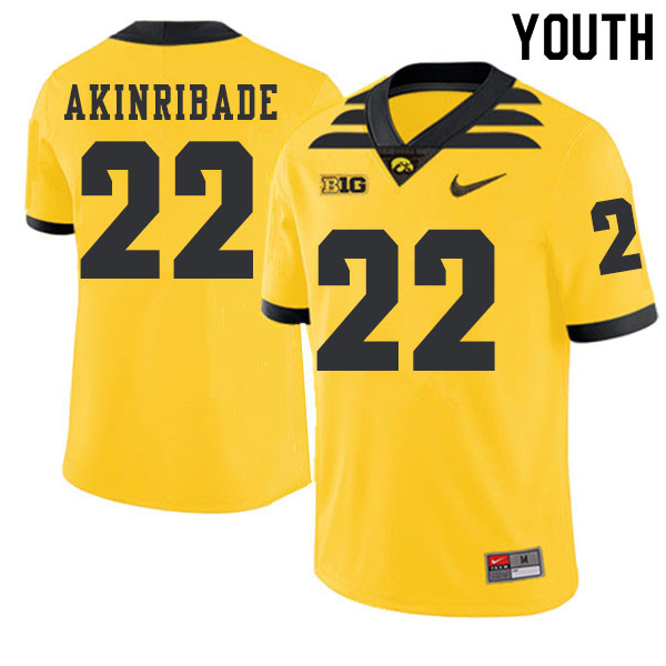 2019 Youth #22 Toks Akinribade Iowa Hawkeyes College Football Alternate Jerseys Sale-Gold