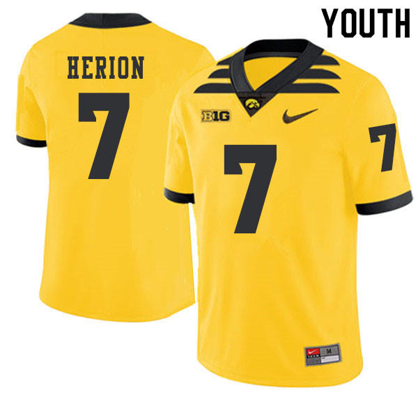 2019 Youth #7 Tom Herion Iowa Hawkeyes College Football Alternate Jerseys Sale-Gold