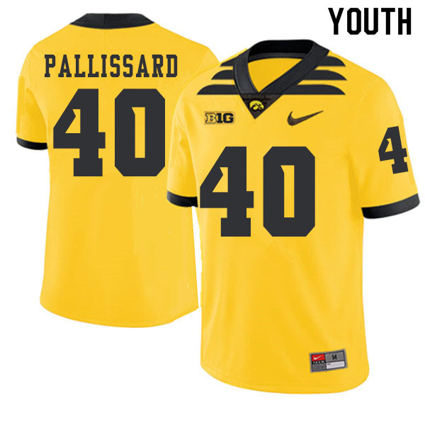 2019 Youth #40 Turner Pallissard Iowa Hawkeyes College Football Alternate Jerseys Sale-Gold