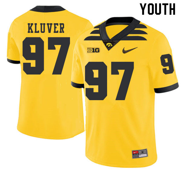2019 Youth #97 Tyler Kluver Iowa Hawkeyes College Football Alternate Jerseys Sale-Gold