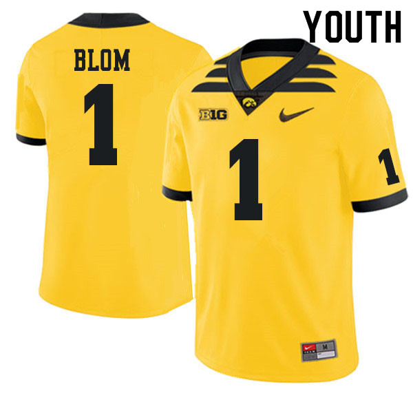 Youth #1 Aaron Blom Iowa Hawkeyes College Football Jerseys Sale-Gold