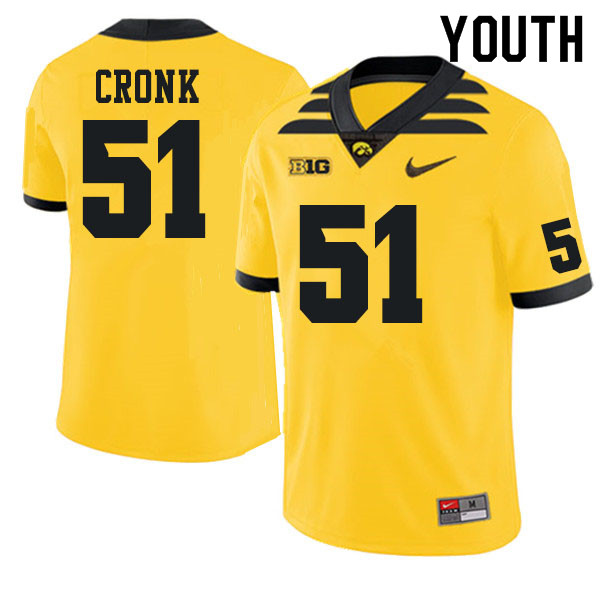 Youth #51 Coy Cronk Iowa Hawkeyes College Football Jerseys Sale-Gold