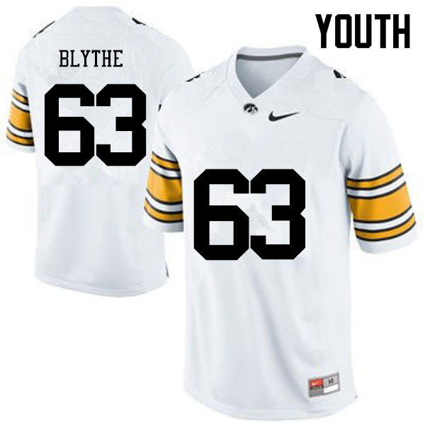 Youth Iowa Hawkeyes #63 Austin Blythe College Football Jerseys-White
