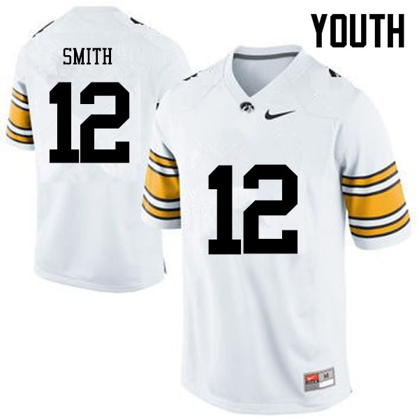 Youth Iowa Hawkeyes #12 Brandon Smith College Football Jerseys-White