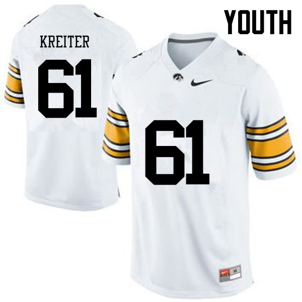 Youth Iowa Hawkeyes #61 Casey Kreiter College Football Jerseys-White