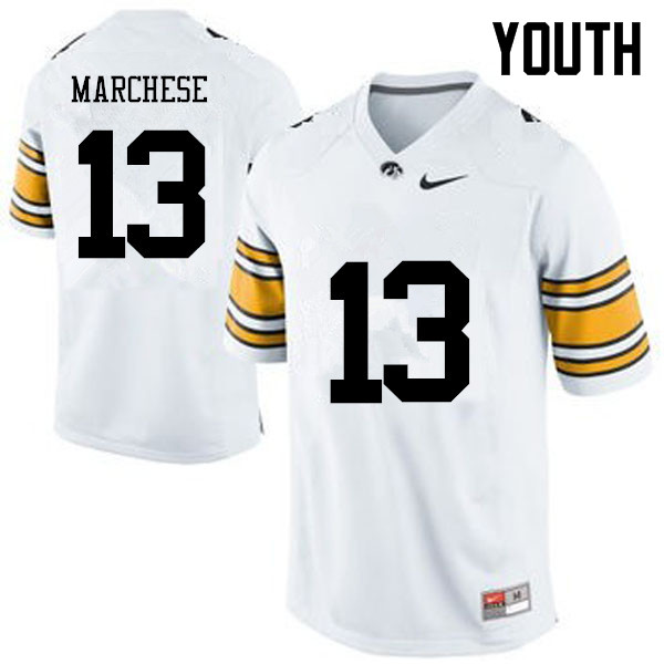 Youth Iowa Hawkeyes #13 Henry Marchese College Football Jerseys-White