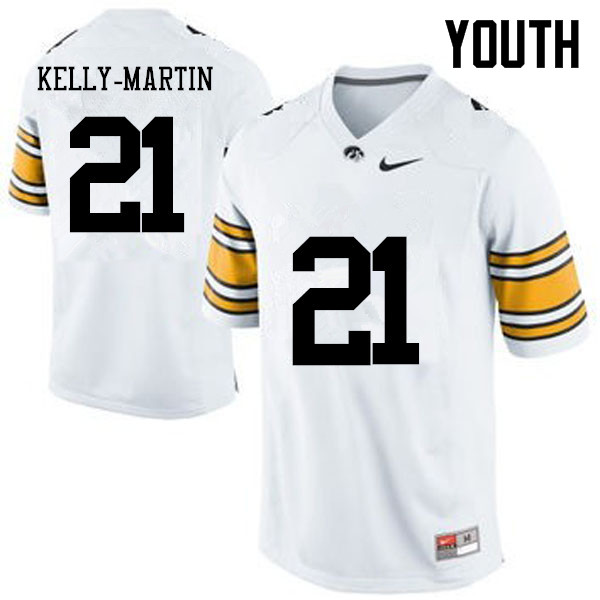 Youth Iowa Hawkeyes #21 Ivory Kelly-Martin College Football Jerseys-White