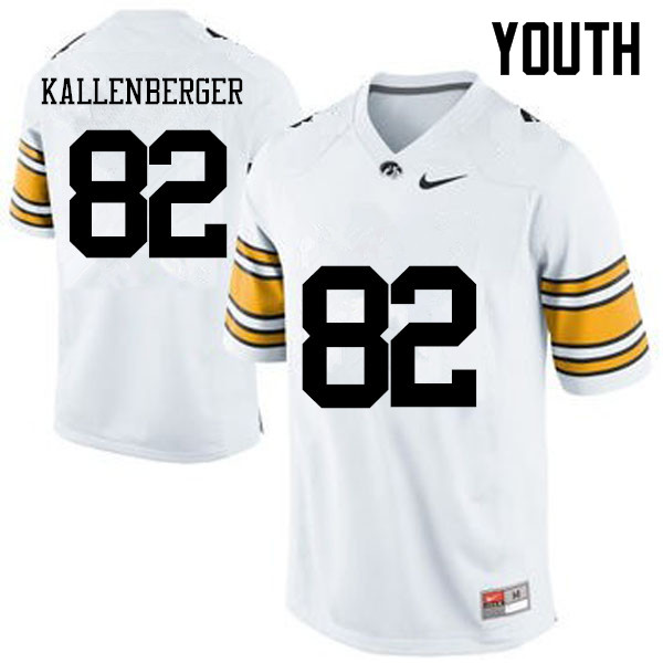 Youth Iowa Hawkeyes #82 Jack Kallenberger College Football Jerseys-White