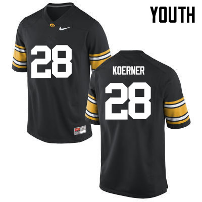 Youth Iowa Hawkeyes #28 Jack Koerner College Football Jerseys-Black