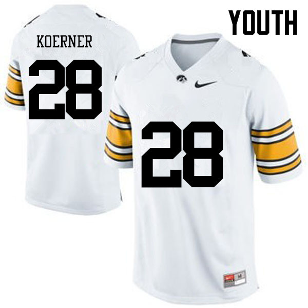 Youth Iowa Hawkeyes #28 Jack Koerner College Football Jerseys-White