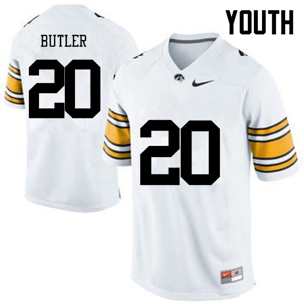 Youth Iowa Hawkeyes #20 James Butler College Football Jerseys-White