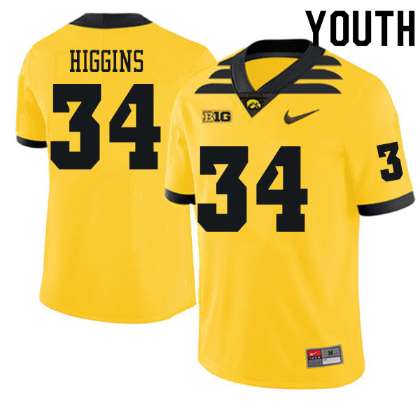 Youth #34 Jay Higgins Iowa Hawkeyes College Football Jerseys Sale-Gold