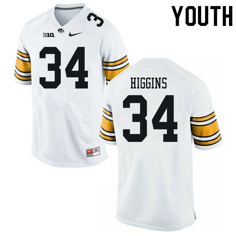 Youth #34 Jay Higgins Iowa Hawkeyes College Football Jerseys Sale-White