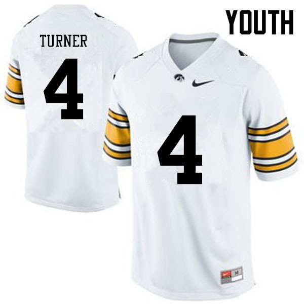 Youth Iowa Hawkeyes #4 Josh Turner College Football Jerseys-White