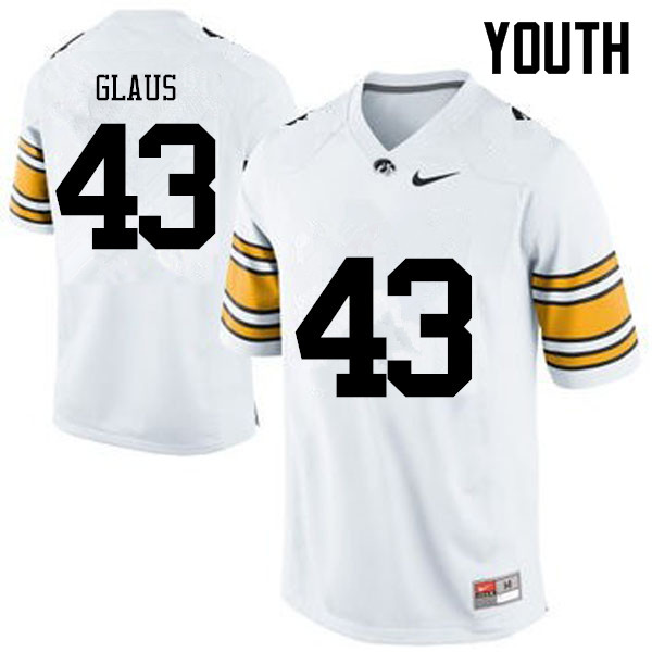 Youth Iowa Hawkeyes #43 Keegan Glaus College Football Jerseys-White