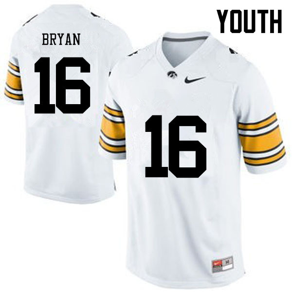 Youth Iowa Hawkeyes #16 Kyshaun Bryan College Football Jerseys-White