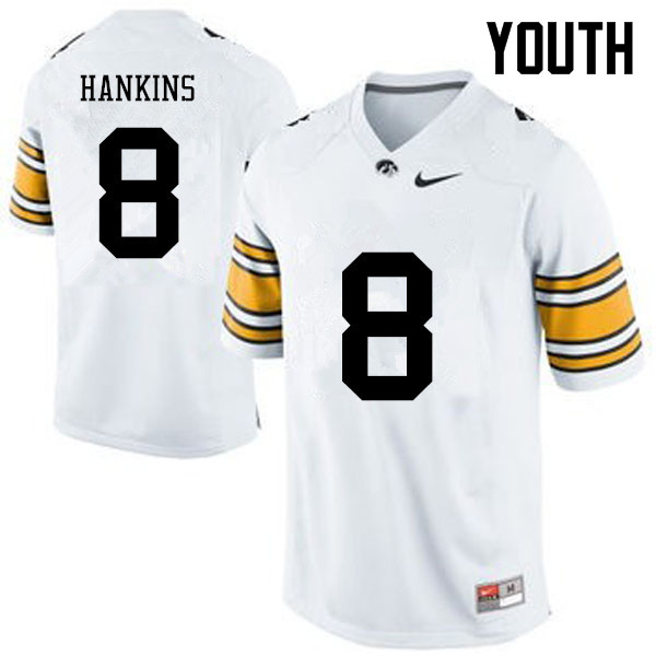 Youth Iowa Hawkeyes #8 Matt Hankins College Football Jerseys-White