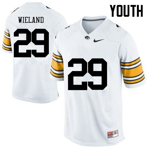 Youth Iowa Hawkeyes #29 Nate Wieland College Football Jerseys-White