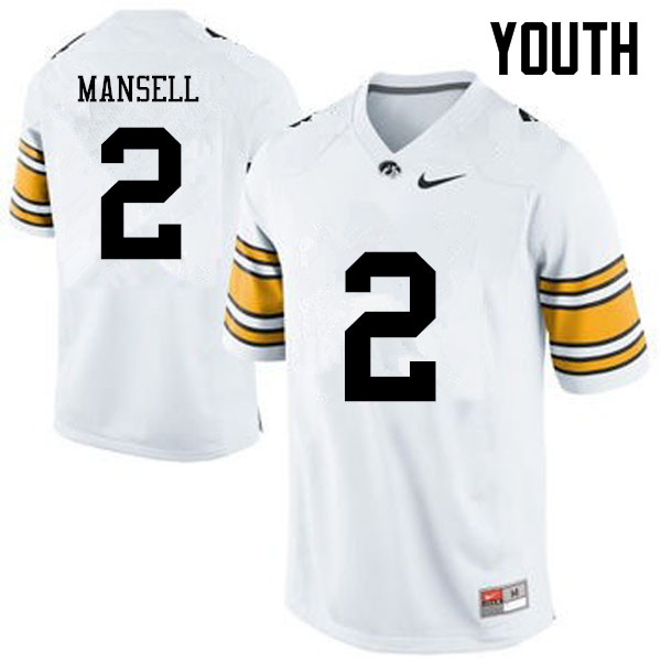 Youth Iowa Hawkeyes #2 Peyton Mansell College Football Jerseys-White
