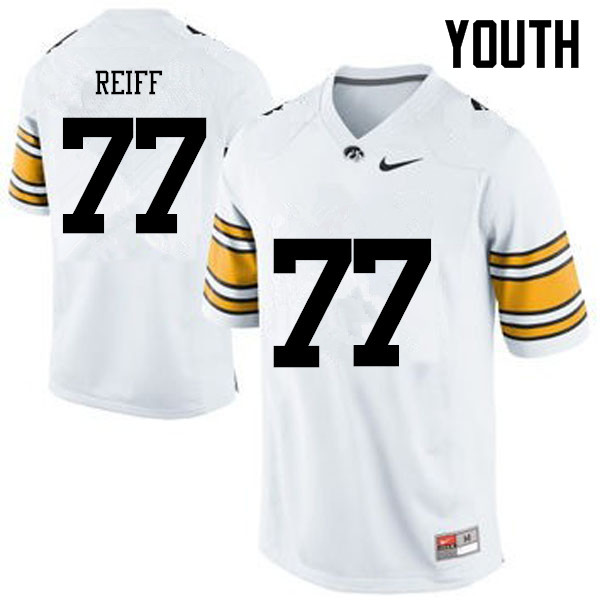 Youth Iowa Hawkeyes #77 Riley Reiff College Football Jerseys-White