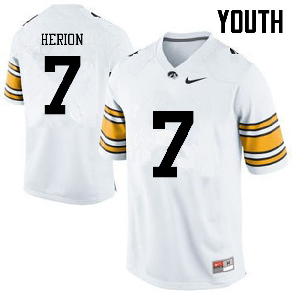 Youth Iowa Hawkeyes #7 Tom Herion College Football Jerseys-White