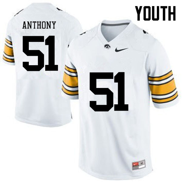 Youth Iowa Hawkeyes #51 Will Anthony College Football Jerseys-White